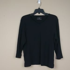 Liz Claiborne black ribbed v-neck with side slits.